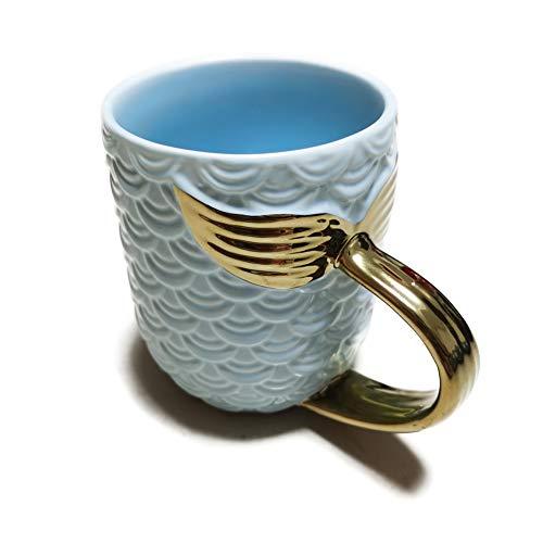 ZaH 15 oz Mermaid Mug Ceramic Coffee Mugs Big Cute Cups Cappuccino Teacup Birthday Bridal Shower Engagement Wedding Gifts Soup Mug for Men Women Kids Girls Boys (Sky Blue)