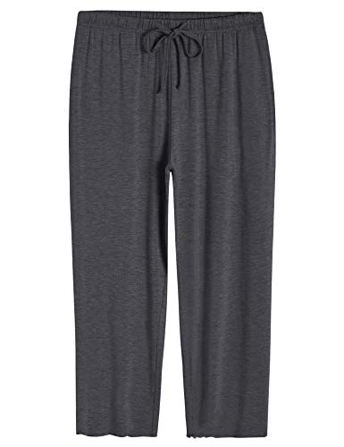Pintage Womens Solid Loungewear Sleep Capri Pants with Pockets