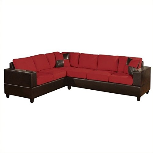 poundex-bobkona-trenton-2-piece-sectional-with-accent-pillows-in-red