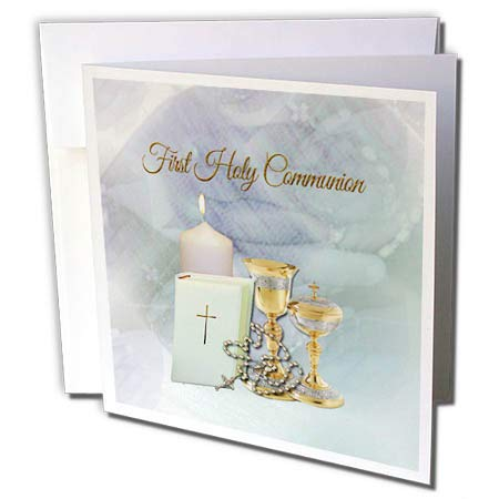 3dRose Beverly Turner First Communion - First Holy Communion, Chalice, Bible, Cross on Chain, Lite Candle - 12 Greeting Cards with envelopes (gc_302891_2)