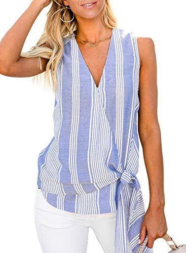 Chase Secret Womens Elegant Summer V Neck Front Striped Tank Top Casual Sleeveless Shirt Cami Tops Camisole 2XL Blue