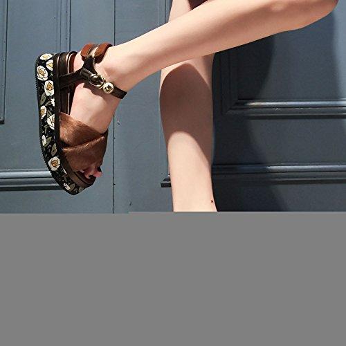 CHNHIRA Verano Sandalias Zapato de Tacón 12cm Mujer de Escena Playa