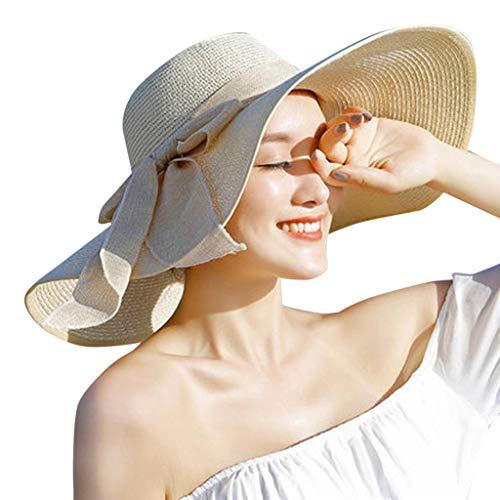 Sunshinehomely Women Bowknot Big Brim Straw Hat Sun Floppy Wide Brim Hats Folding Beach Cap New (Beige)