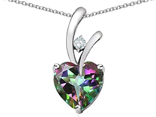 Star K Heart Shape 8mm Mystic Quartz Endless Love Pendant Necklace Sterling ()