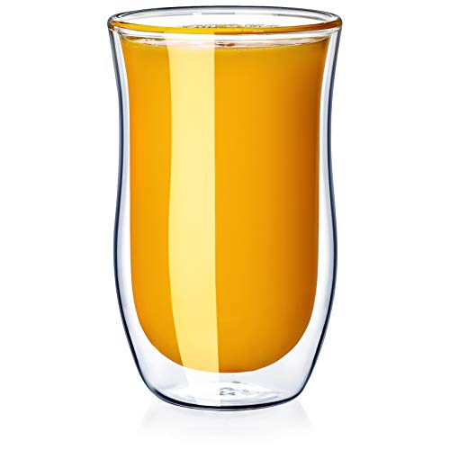 Dragon Glassware Drinking Glasses, Insulating Double Walled Juice Tumblers for Hot and Cold Beverages, 8-Ounce, Set of 2