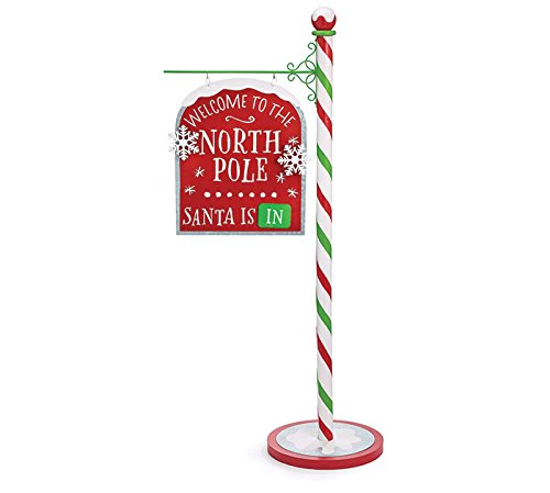 Burton Christmas Welcome to the North Pole Santa is In / Out Lg 43'' Tin and MDF Standing Sign by Burton & Burton