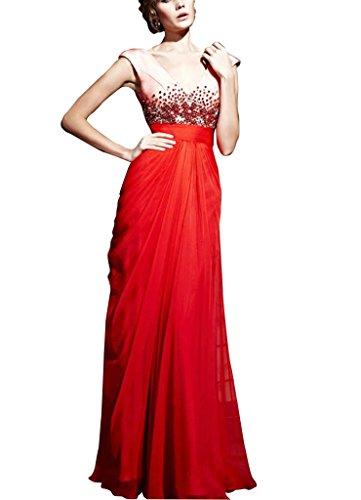 SpitzeAppliques Perlen Spalte mit GEORGE Mantel Abendkleid bodenlangen weg Rot Rot Schulter Chiffon BRIDE wwqCPtv