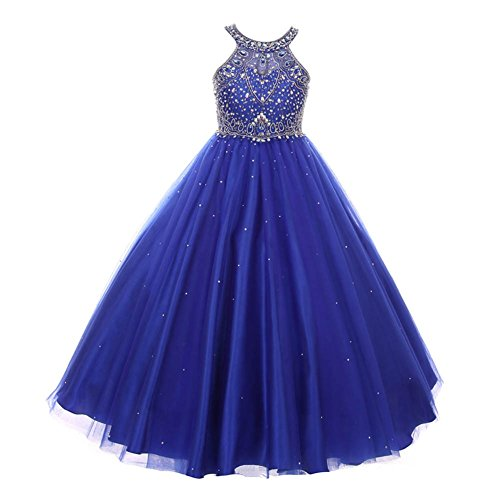 Cinderella Couture Big Girls Royal Blue Dazzling Halter Beaded Tulle Special Occasion Dress 10 from Cinderella Couture