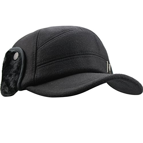 Wool Earflap Hat - eYourlife2012 Men Winter Three Layers Thicken Wool Baseball Earflaps Fleece Earmuffs Cap Hat