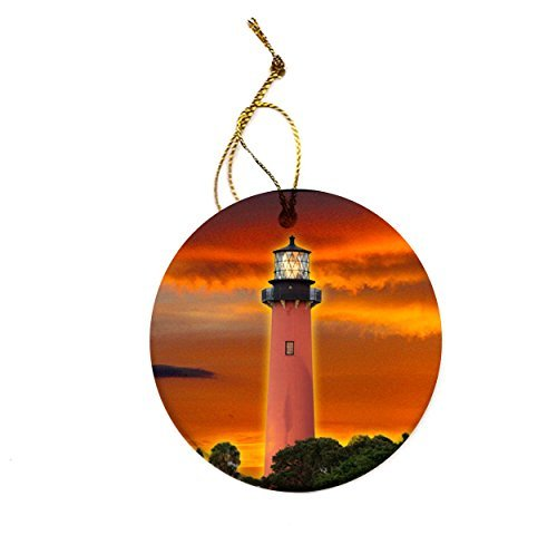 Jupiter Lighthouse Tropical Porcelain Christmas Tree Photo Ornament