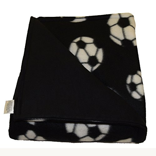 SENSORY GOODS Child Small Weighted Blanket MADE IN AMERICA - 5lb Medium Pressure - Soccer Pattern/Black - Fleece/Flannel (30'' x 48'') Provides Comfort and Relaxation.
