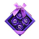 Lovewe 4pc Fower Petal Soap - Scented Bath Body Petal Rose Flower Soap For Valentine's Day Gift (G)