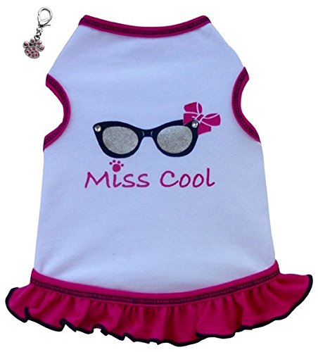 [Cool Sunglasses Themed Dog's Tank Dress with Clip Charm – Hot Pink– in Dog Size (Miss Cool, L - Chest 18