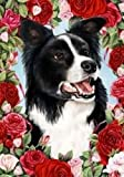 Border Collie – Tamara Burnett Valentine Roses Flag