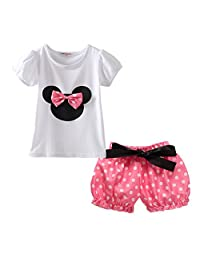LittleSpring Little Girls' Skirt Shorts Set Bow Dot
