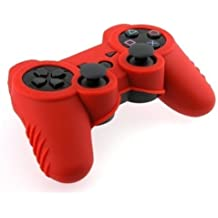 Importer520 Silicone Soft Silicone Skin Protector Cover Case Combo for Sony Playstaion PS3 Controller, Red