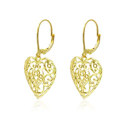 (Yellow Gold Flashed Sterling Silver Diamond-Cut Filigree Heart Leverback Dangle Earrings)