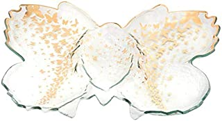 product image for AnnieGlass Roman Antique Gold Butterfly (platter) Chip & Dip Server #b200g