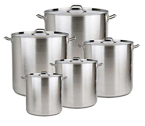 Bioexcel Set of 5 Aluminum Stock Pots with Streamers & Lid Covers - 20 QT, 24 QT, 32 QT, 40 QT, 52 QT by Bioexcel