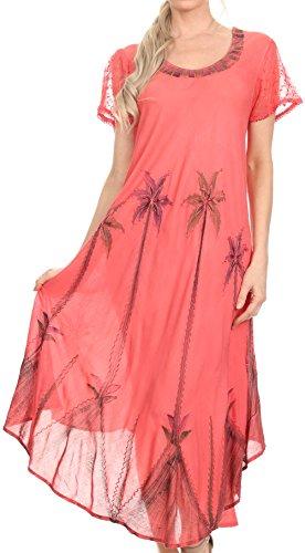 Sakkas 116 Watercolor Palm Tree Tank Caftan Dress - Coral/One Size