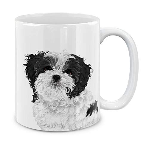 (MUGBREW Cute Black White Shih Tzu Dog Full Portrait Ceramic Coffee Gift Mug Tea Cup, 11 OZ)