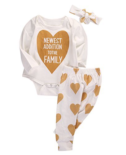 Baby Boys Girls Long Sleeve Gold Heart Romper Pants Headband 3pcs Outfits (0-3 Months, White) - Cute Baby Girl Clothing