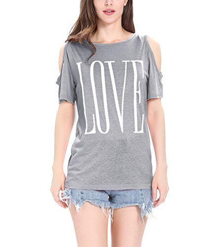Finyosee Women's Cute Cold Shoulder, Round Neck, Short Sleeve Tops, Base T-Shirt Love (Shoulder Knit Tee)