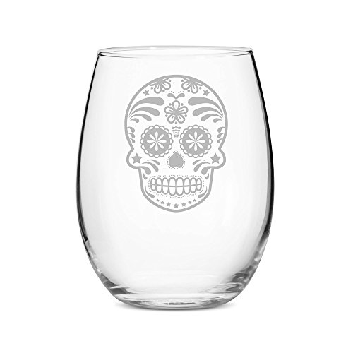 Skull Day of the Dead 21 oz Stemless Wine Glass - Set of 4 -