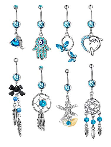 - Yadoca 8 Pcs 14G Stainless Steel Dangle Belly Button Rings Women Girls Curved Navel Barbell Body Jewelry Piercing CZ Inlaid