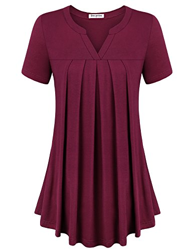 Becanbe Women Flowy Tops,Women's Short Sleeve Scoop Neck Pleated Front A Line Solid Color Tunic Top T-Shirt Plus Size(Wine,Large)