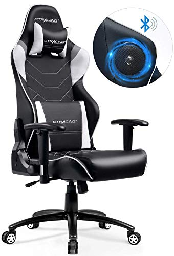 GTRACING Gaming Chair with Speakers Bluetooth Music Video Game Chair Audio Heavy Duty Computer Desk Chair PC Racing Executive Ergonomic Adjustable Swivel Task Chair Headrest Lumbar Support Gray