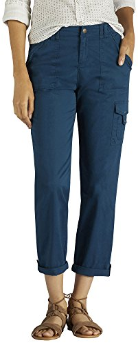 LEE Women's Relaxed Fit Santiago Knit Waist Capri Pant, Seaport, 6 (Crop Relaxed Fit)