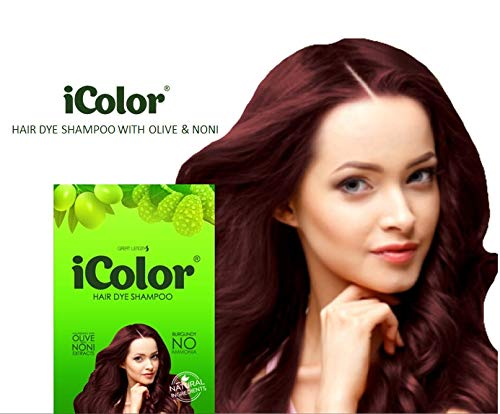 iColor Hair Dye Shampoo Burgundy 30ml (1.014 ounces) x 10 sachets in a box, shampoo-in hair color, dye, black hair in 5 minutes, DIY, convenient, easy to use coloring ()
