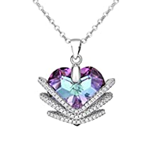 EleQueen 925 Sterling Silver 3 Layer CZ Heart of Ocean Titanic Inspired Pendant Necklace Adorned with Swarovski® Crystals