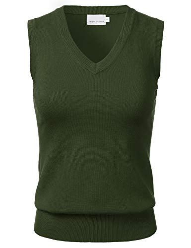 (Women's Solid Classic V-Neck Sleeveless Pullover Sweater Vest Top Olive)