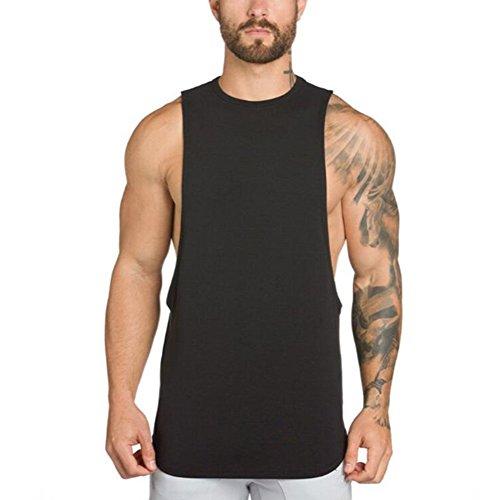 ZUEVI Men's Muscular Cut Open Sides Tank Tops Bodybuilding T-Shirts(ZBlack-S)