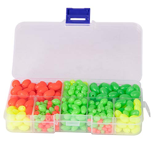 Dr.Fish Fishing Bead Glow in Dark Bait Eggs Kits Floating Ball Stopper Plastic with BoxRound Luminous Saltwater Freshwater 500pcs (Best Bait For Carp Float Fishing)