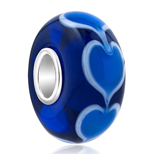 Third Time Charm Sterling Silver Infinity Love Goes Round Blue Heart Charm Murano Glass Bead For Bracelets