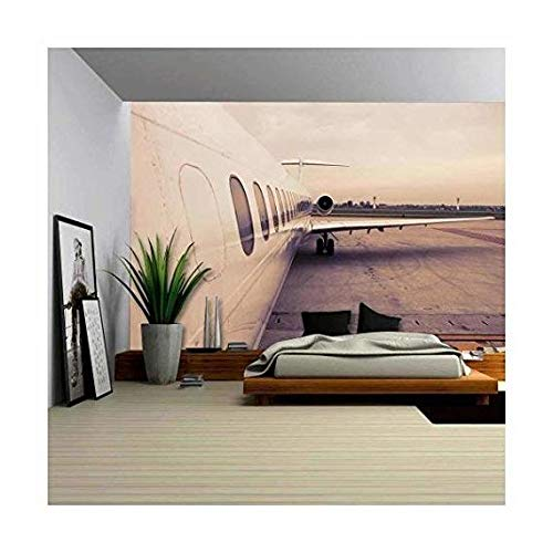 wall26 - Airplane Parked in Airport Waiting for Boarding Passengers - Removable Wall Mural | Self-adhesive Large Wallpaper - 66x96 inches by wall26