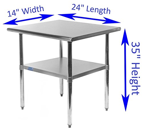 14'' X 24'' Work Table Stainless Steel Food Prep Worktable Restaurant Supply by AmGood (Image #1)'