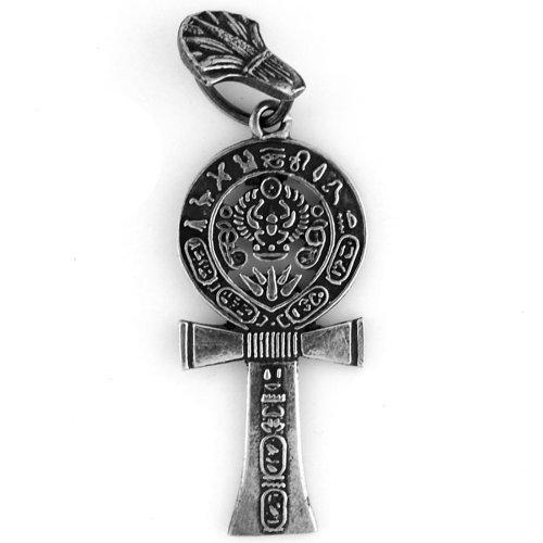Egyptian Jewelry Silver Hieroglyphic Ankh of Life (Lotus Flower Cartouche)