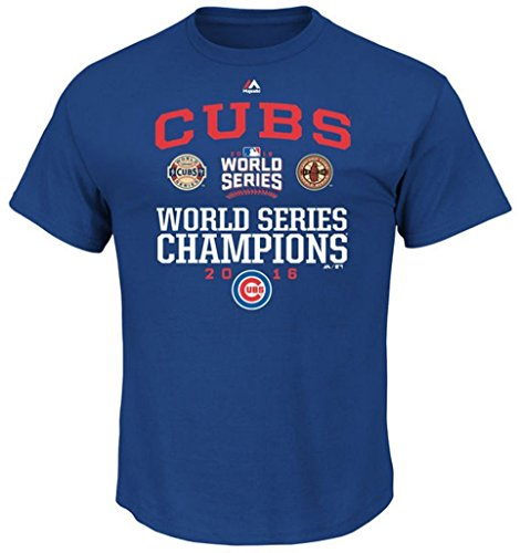Mlb Victory Series - VF Chicago Cubs MLB Mens Majestic 2016 World Series Champions Headline News Shirt Royal Size 3XL