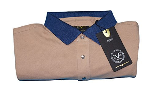 Versace V1969 - Herren Poloshirt, Blau Kragen, 100% Baumwolle, Custom Fit, Braun, Small
