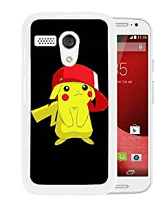 Pokemon Popular Cute and Funny Pikachu 33 White Motorola Moto G Phone Case Durable and Custom Designed Case