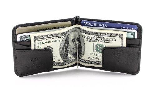 Mens Money Clip Bifold Wallet Slim Minimalist Card Case Pockets Italian Leather