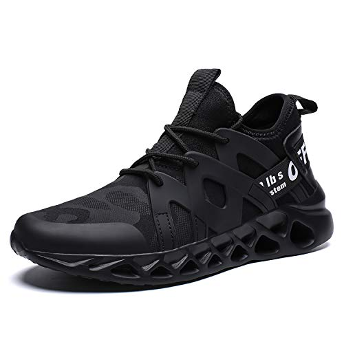Pozvnn Men's Sneakers Mesh Ultra Lightweight Breathable Athletic Running Walking Gym Shoes Fashion Personality Shoe Outdoor Sport All/Black47
