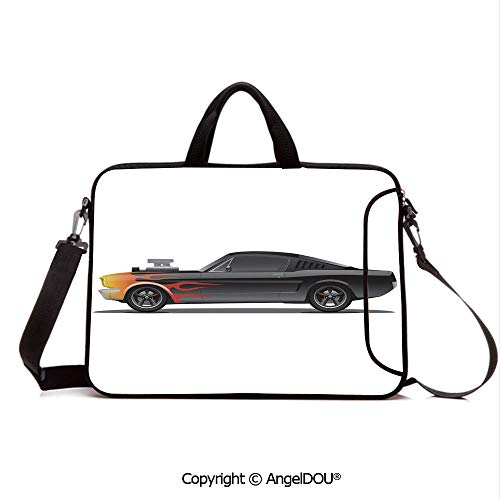 AngelDOU Portable Ultrabook Soft Sleeve Laptop Bag Case Cover Custom Design Muscle Car with Supercharger and Flames Roadster Retro Styled Deco Compatible with MacBook Asus Acer HP Black Orange Red