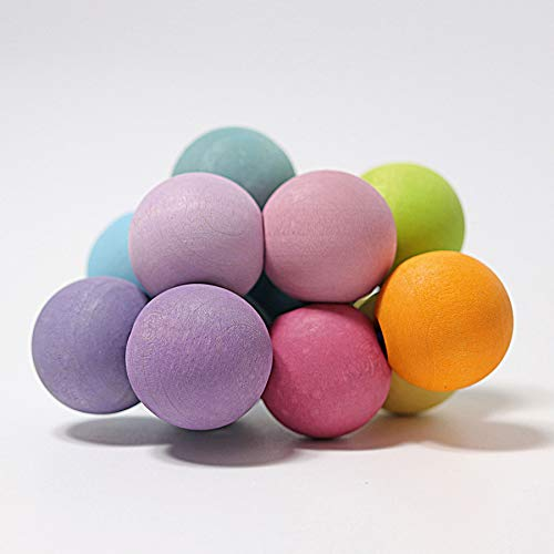 Grimm's Pastel Beads Grasper - Tactile Natural Teething Toy of Colored Wooden Balls, Made in Germany