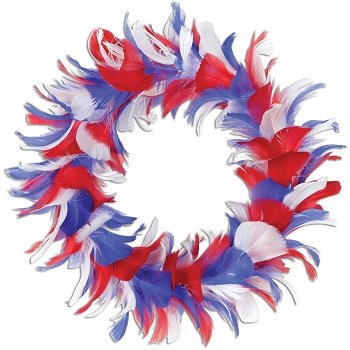 Feather Wreath (red, white, blue) Party Accessory  (1 count)