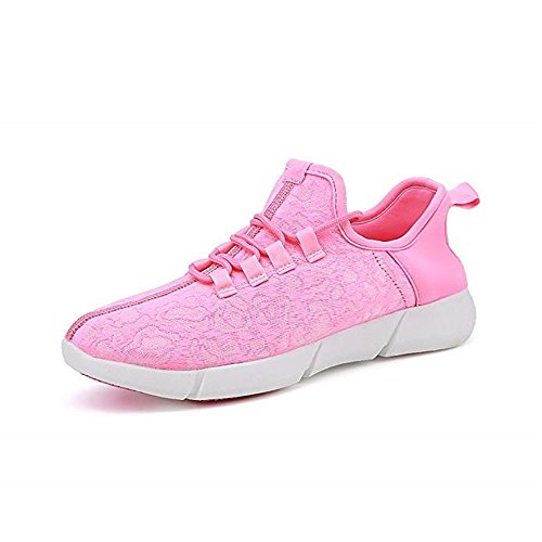 edv0d2v266 Light up LED Fiber Optic Shoes for Women Men Kids USB Charging Sneaker for Valentine's Day Christmas Halloween (Pink 42/11 B(M) US Women/8.5 D(M) US Men)